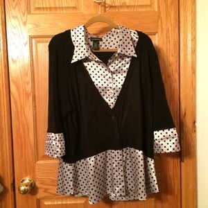 Collared silver-white top w/ black polka-dots